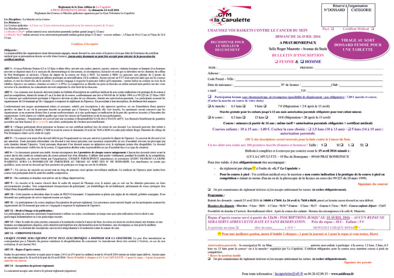 flyer et inscriptions 2016-2